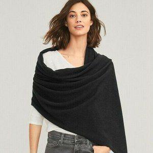 Kate Kanyon Scarf Wrap Black Wool Silk Fringe XL